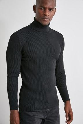 TRENDYOL MAN Siyah Erkek Slim Fit Lastik Örgü Balıkçı Yaka Triko Kazak TMNAW20MG0031 2