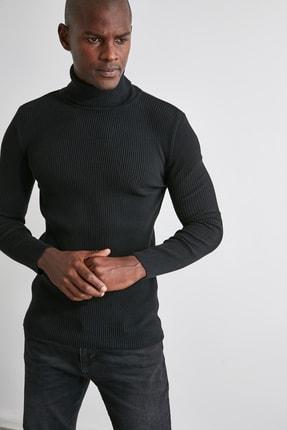 TRENDYOL MAN Siyah Erkek Slim Fit Lastik Örgü Balıkçı Yaka Triko Kazak TMNAW20MG0031 3