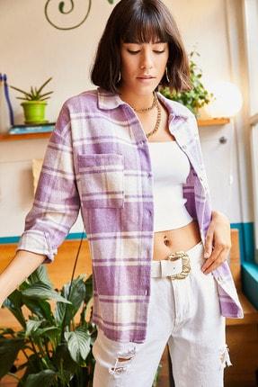 Olalook Kadın Lila Tek Cepli Oduncu Gömlek GML-19000707 2