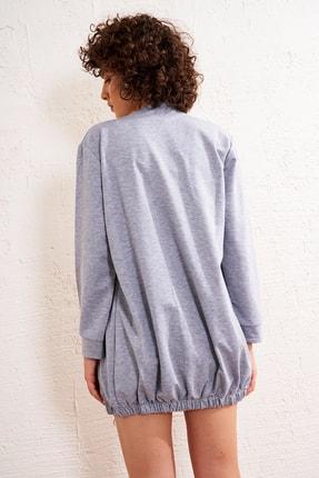 Eka Kadın Gri Ön Fermuarlı Eteği Lastikli Uzun Sweatshirt 3