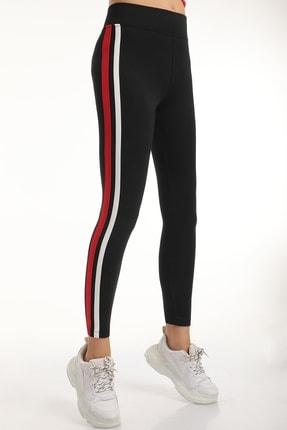 MD trend Kadın Siyah Şeritli Yüksek Bel Toparlayıcı Tayt/kırmızı/xl 3