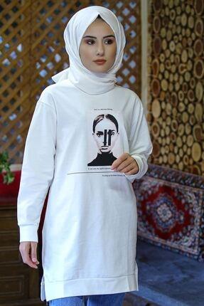 Nirvana Kadın Beyaz Iki Iplik Baskılı Tunik 0