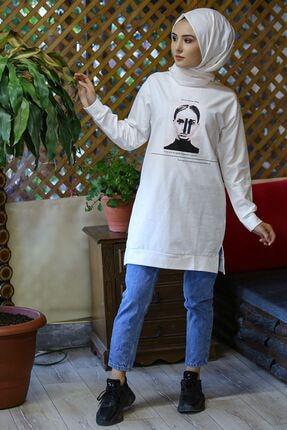 Nirvana Kadın Beyaz Iki Iplik Baskılı Tunik 1