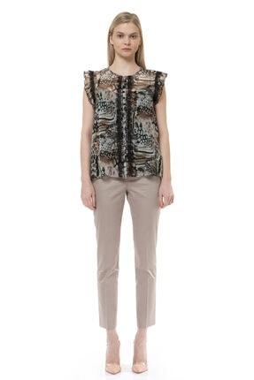 BİRELİN Kadın Kahverengi Volan ve Dantel Detaylı Bluz 0