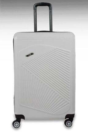 NK Beyaz Abs Sert Kabuk Dayanıklı Büyük Boy Bavul 0