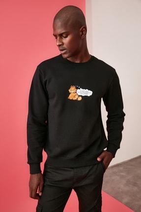 TRENDYOL MAN Siyah Erkek Lisanslı Regular Fit Sweatshirt 3