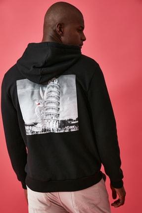 TRENDYOL MAN Siyah Erkek Lisanslı Regular Fit Sweatshirt 2