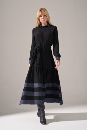 Mizalle Kadın Siyah Denim Detaylı Gömlek Elbise 0