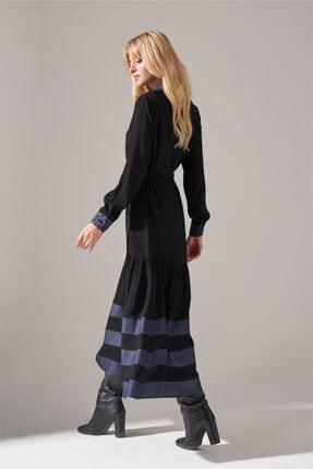 Mizalle Kadın Siyah Denim Detaylı Gömlek Elbise 2