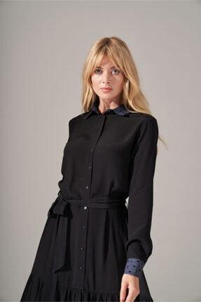 Mizalle Kadın Siyah Denim Detaylı Gömlek Elbise 3