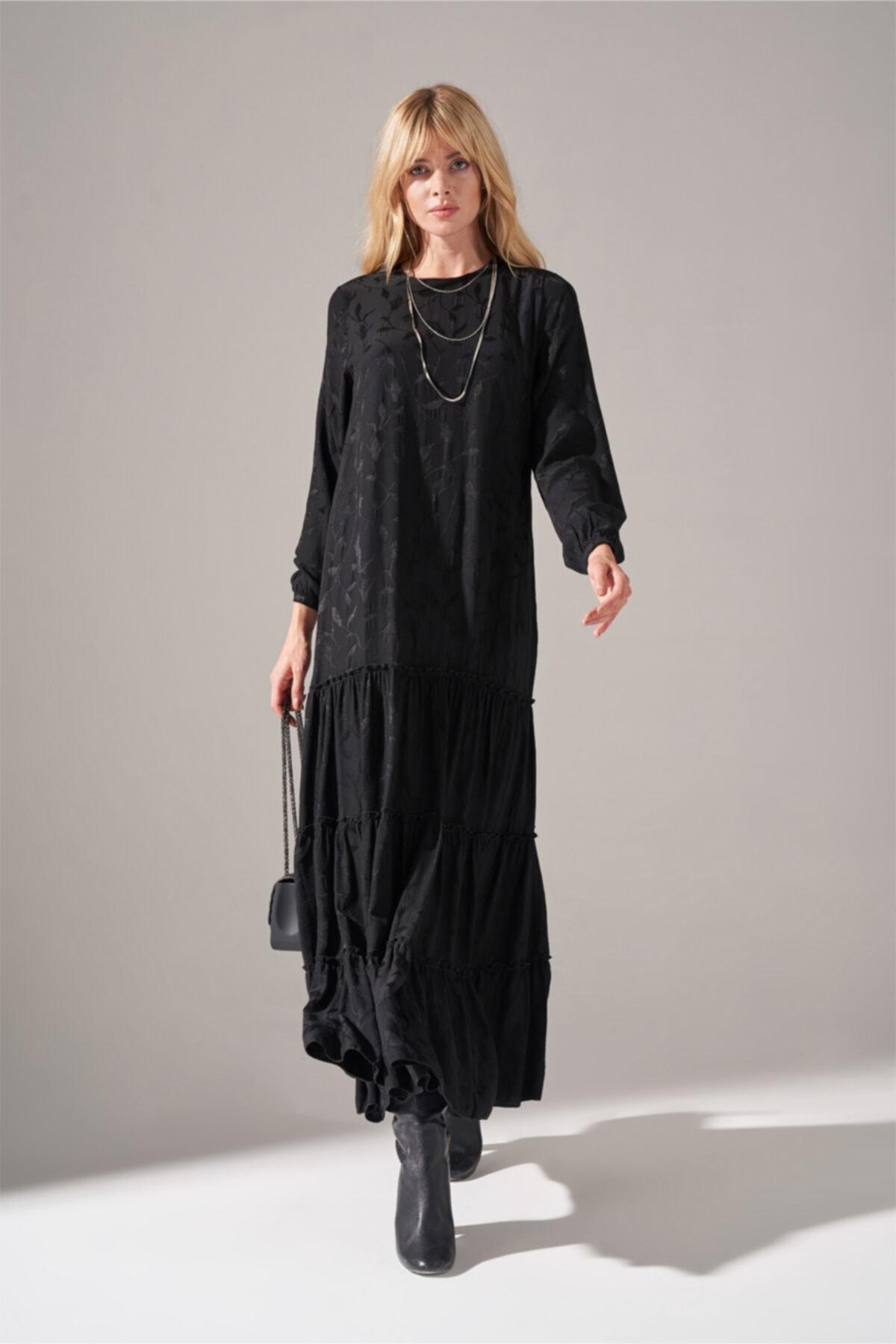Alt Etek Fırfırlı Elbise (SİYAH)