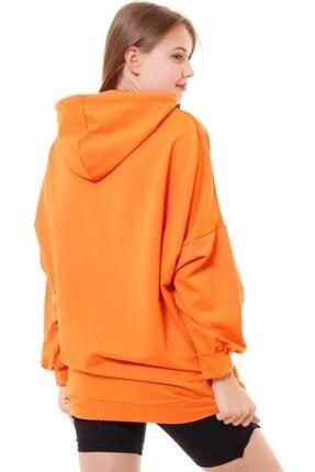 misismoda Kadın Turuncu Girl Boss Baskılı Oversize Sweatshirt 1