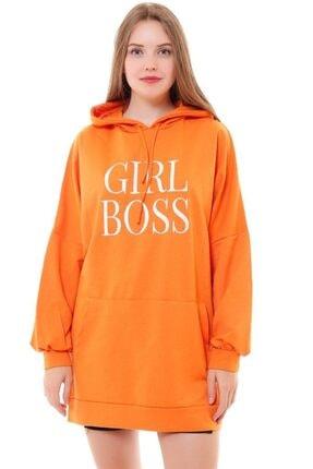 misismoda Kadın Turuncu Girl Boss Baskılı Oversize Sweatshirt 2