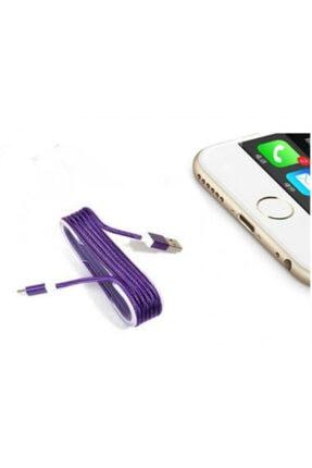DIGERUI Iphone Örgü Şeklinde Renkli Çelik Şarj Data Kablosu - Mor 0