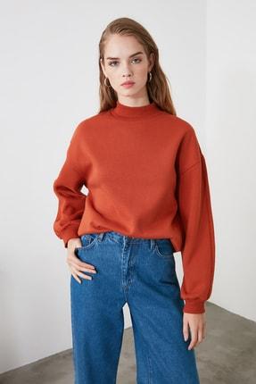 TRENDYOLMİLLA Kiremit Dik Yaka Örme Sweatshirt TWOAW20SW0584 0
