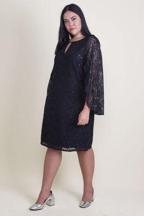 Şans Kadın Siyah Öpücük Yaka Astarlı Dantel Elbise 65N18224 2