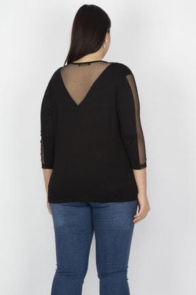 Şans Kadın Siyah Tül Detaylı Viskon Bluz 65N18251 1