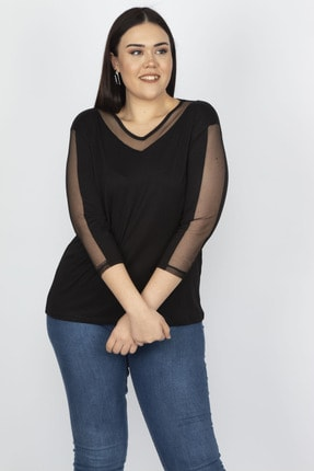 Şans Kadın Siyah Tül Detaylı Viskon Bluz 65N18251 2