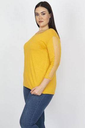 Şans Kadın Hardal Tül Detaylı Viskon Bluz 65N18251 1