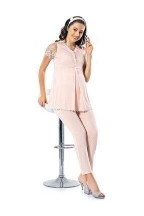 Şahin Kadın Somon Rengi Hamile Kısa Kollu Pijama Takımı 0