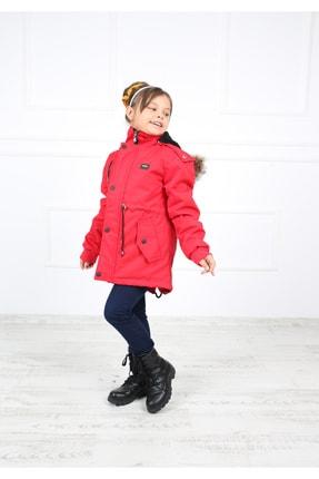 B&T Kız Çocuk  Kırmızı Peluşlu Kaban Mont 1