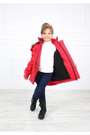 B&T Kız Çocuk  Kırmızı Peluşlu Kaban Mont 4