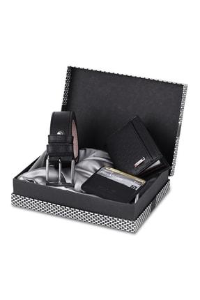 Polo Air Siyah Dama Desenli Kutulu Erkek Cüzdan Kemer Kartlık Seti - Sete-3013-s 0
