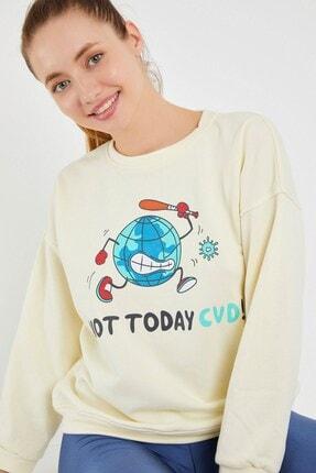 Yukimay Newyork Kadın Ekru Sweatshirt 0