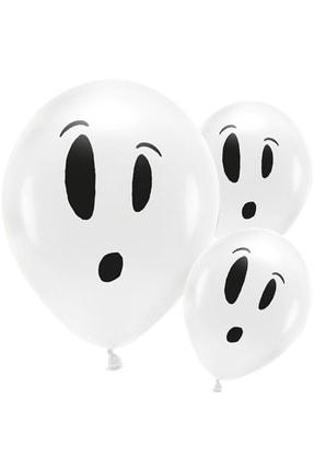 KullanAt Market Cadılar Bayramı Hayalet Baskılı Beyaz Balon 10'Lu 0
