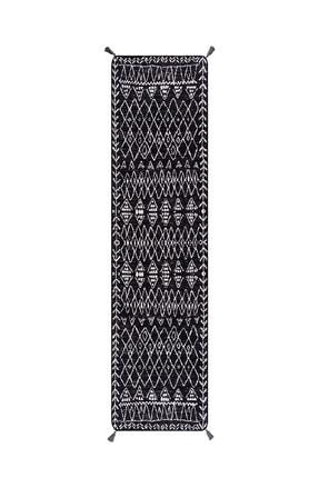 Caretta Home Siyah Beyaz Mistik Desenli Çift Taraflı Dokuma Kilim 4