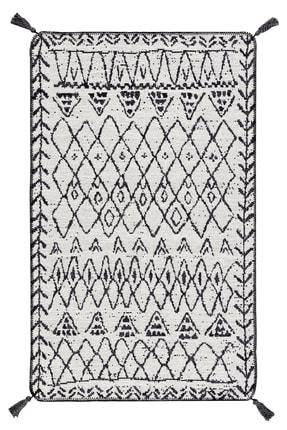 Caretta Home Siyah Beyaz Mistik Desenli Çift Taraflı Dokuma Kilim 1