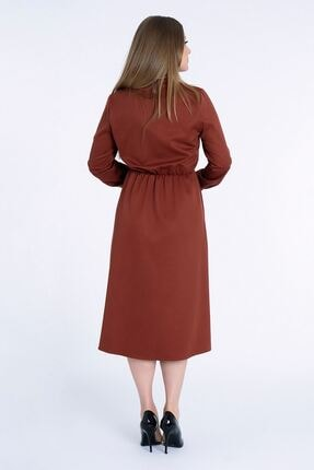 MissVina Kadın Kiremit Yakası Bağcıklı Kolu Lastikli Elbise K5954 2