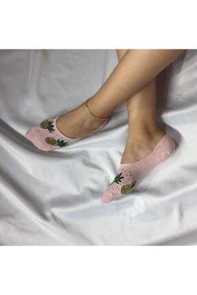 Adel Kadın Pembe Bambu Dikişsiz Silikonlu Babet Çorap 0