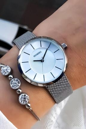 Homies Kadın Gri Kol Saati Bileklik Hediye 0
