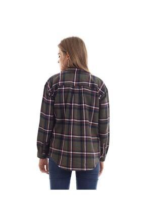 boffin Kadın Haki Ekose Oduncu Gömlek 3