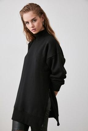 TRENDYOLMİLLA Siyah Fermuar Detaylı Oversize Örme Sweatshirt TWOAW20SW0322 1