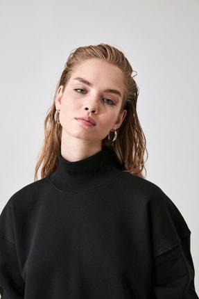 TRENDYOLMİLLA Siyah Fermuar Detaylı Oversize Örme Sweatshirt TWOAW20SW0322 2