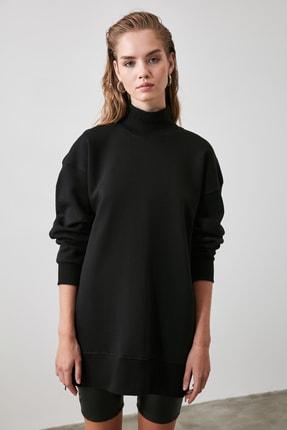 TRENDYOLMİLLA Siyah Fermuar Detaylı Oversize Örme Sweatshirt TWOAW20SW0322 3