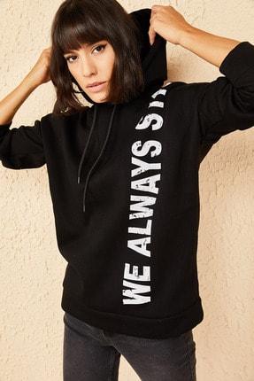 Bianco Lucci Kadın Siyah Kapüşonlu Baskılı Oversize 3 Iplik Şardonlu Sweatshirt 4