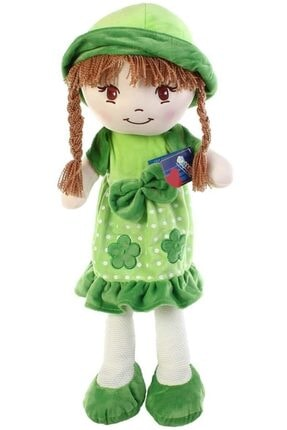 HALLEY Yeşil Oyuncak Bez Bebek Dantel Elbiseli 70 Cm Büyük Boy 1