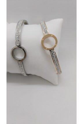 Ananas Accessories Kadın Çelik Taşlı Bileklik Gümüş 4