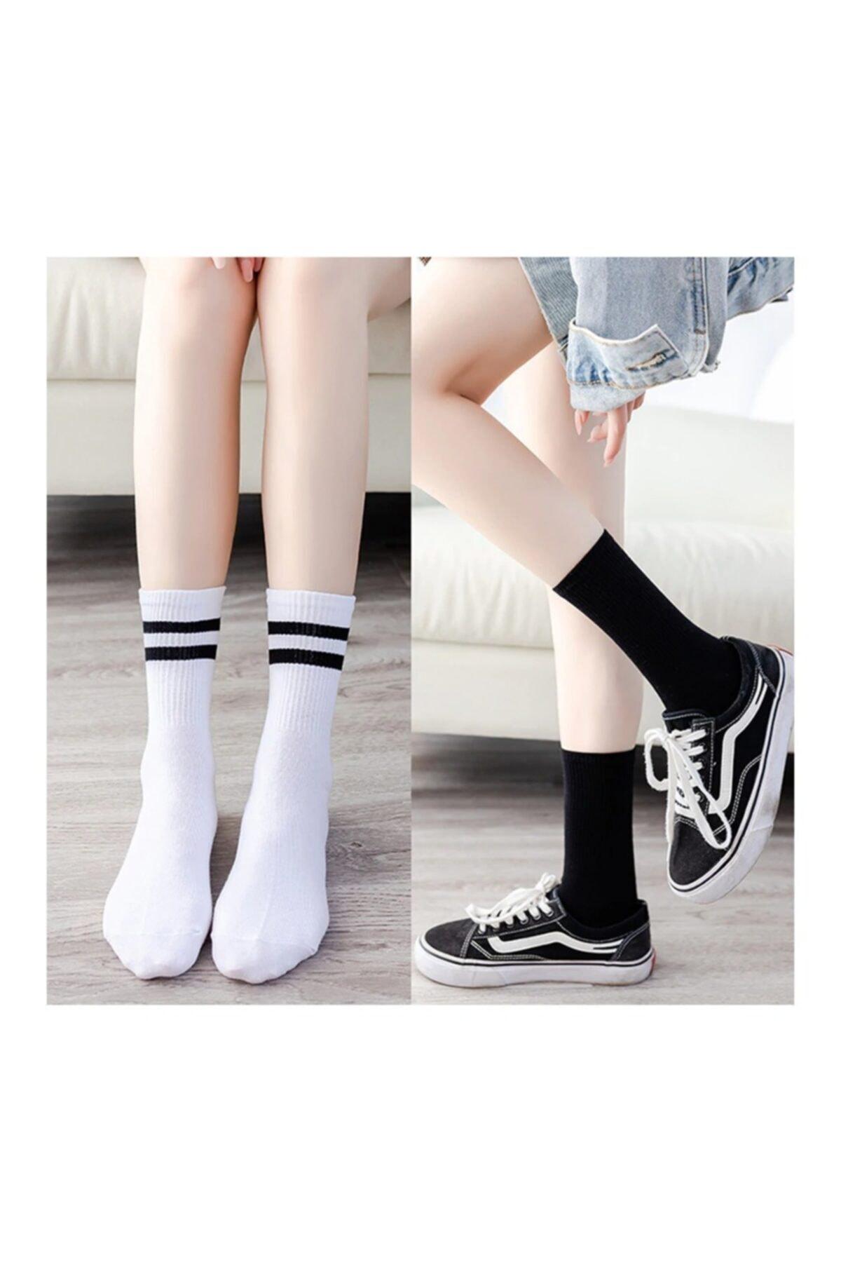 6' Lı Paket Siyah+beyaz Çizgili - Çizgisiz Pamuklu Kolej Tenis Çorap