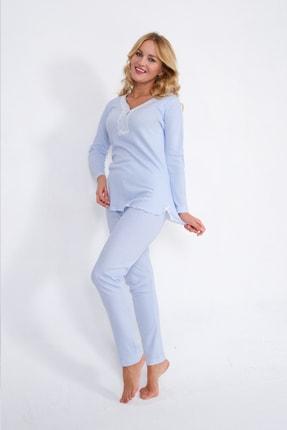 Pijama Denizi Uzun Kollu Düğmeli Pijama Takımı Mavi Çizgili Dantel Yaka Interlok 3