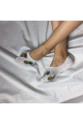 Adel Kadın Beyaz Bambu Dikişsiz Silikonlu Babet Çorap 0