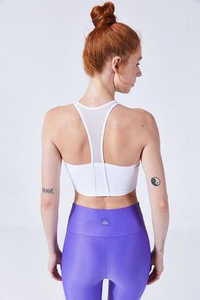 VAYU Beyaz Hera Halter Yaka Tül Detaylı Yoga & Pilates Sporcu Sütyeni 1