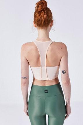 VAYU Kadın Krem Halter Yaka Tül Detaylı Yoga ve Pilates Sporcu Sütyeni 1