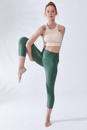 VAYU Kadın Krem Halter Yaka Tül Detaylı Yoga ve Pilates Sporcu Sütyeni 4
