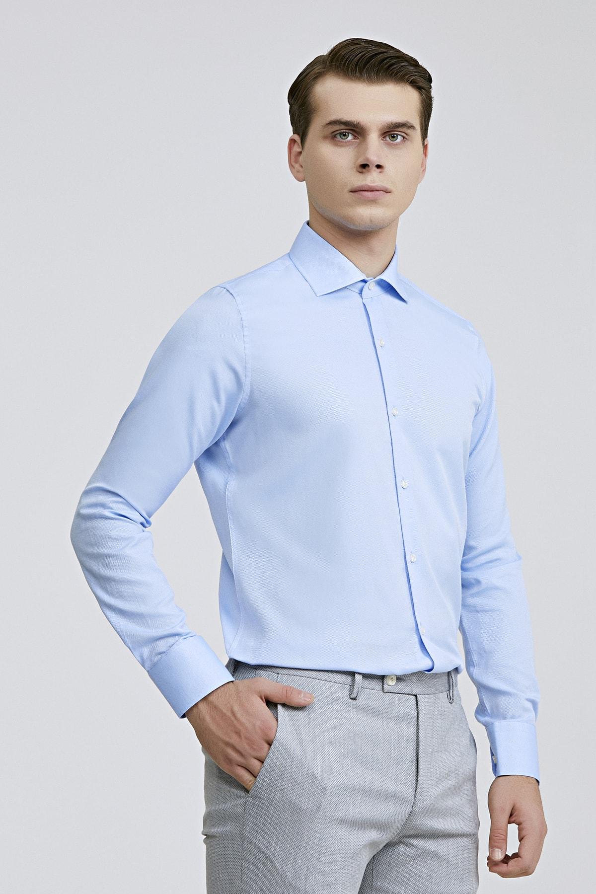 Slim Fit Mavi Renk Erkek Gömlek