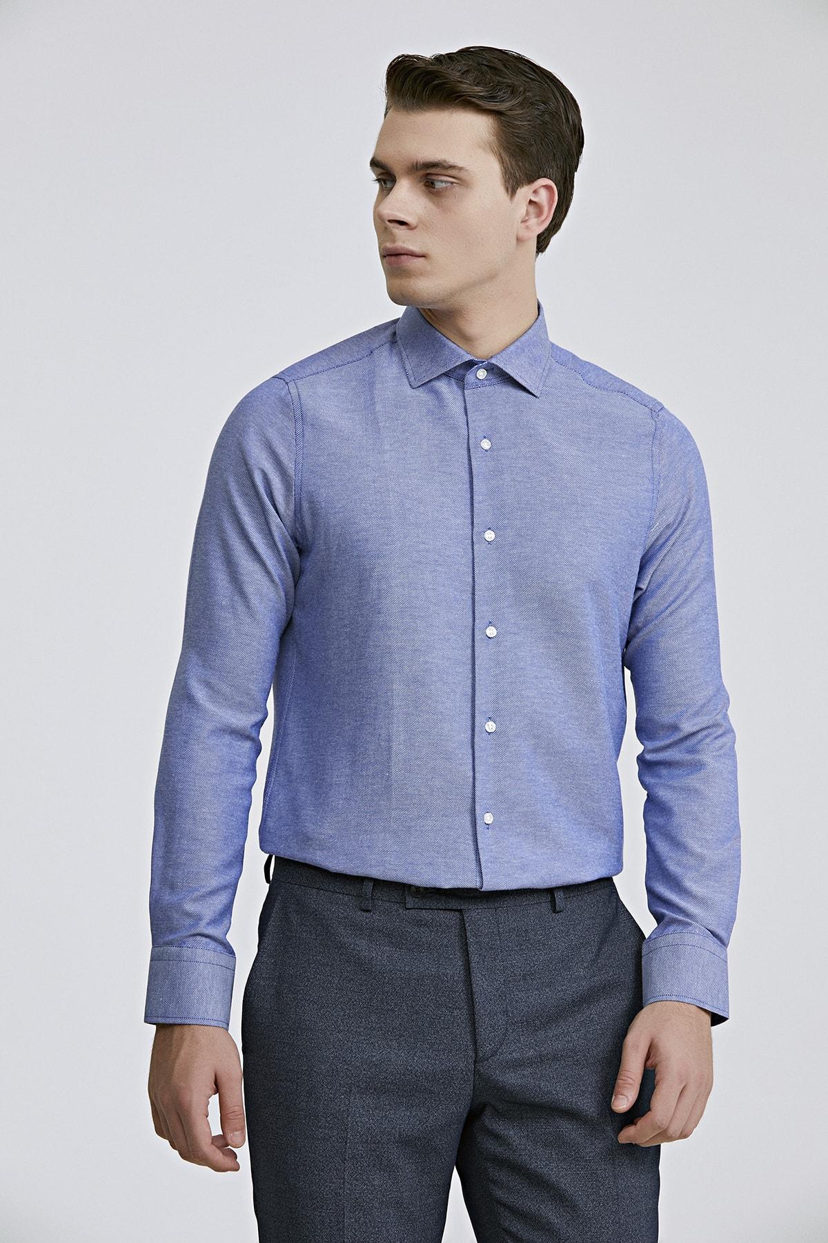 Slim Fit Mavi Renk Erkek Gömlek 2HF02ORT3185_702