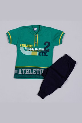 Tarık Erkek Çocuk Yeşil Penye File Nakışlı  Pijama Takımı 2321 0